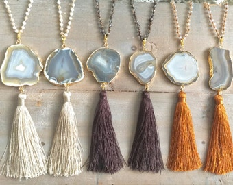 Long druzy Agate necklace on crystal mala necklace, AND crystal mala wrap bracelet in one!! Agate, boho jewelry, gift, druzy necklace