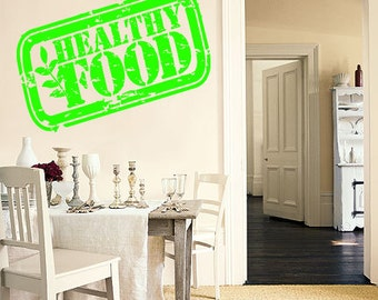 Wall Decal Room Sticker healthy words organic good food stamp life style bo3025