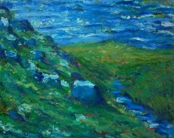 "Original Oil Impressionist Landscape Painting on Canvas 24""x20"" by Simon Bramble, Fine Art Oil Landscape Painting, Expressionism Landscape"