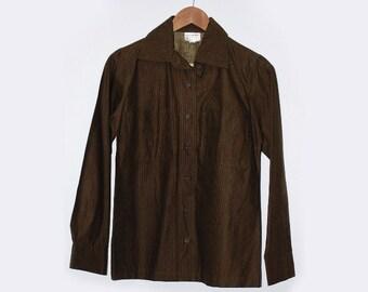 Marimekko – Vintage 1970s Women's Button Down Shirt with Stripes