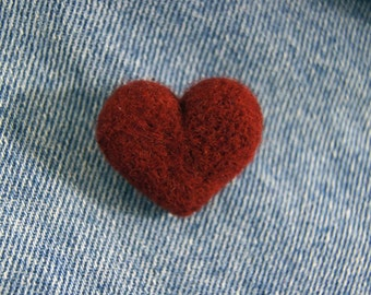 Needle Felted Heart Brooch Pin Dark Red Love Valentines Day Gift Handmade Cute Romance