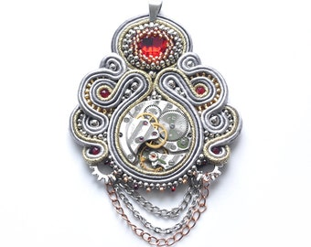 Steampunk Necklace, Soutache Pendant, Watch Necklace, Victorian Jewelry, Mechanical Watch Movement, Industrial Necklace, Gothic Jewelry Gift