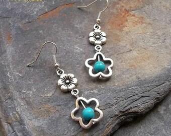 Turquoise Flower Earrings, Silver Flower Earrings, Turquoise Beaded Earrings, Gemstone Earrings, Boho, Hippie, Bohemian, Southwestern Style