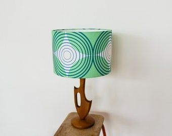 Lampshade Green / Navy Blue Eyespot Graphic Pattern Printed Linen Cotton Mix 30cm