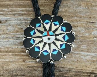 native american jewelry,native,turquoise,bolo tie,zuni,sterling,zuni jewelry,native american bolo ties, Zuni Inlay Bolo Tie, Native American