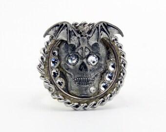 Metal Skull, Bat and Swarovski