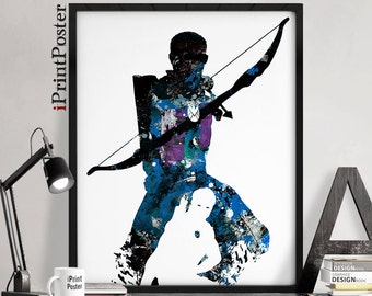 Hawkeye, Marvel poster, avengers print, hawkeye print, marvel comics, abstract, wall art, art print, comic art, home decor, iPrintPoster.