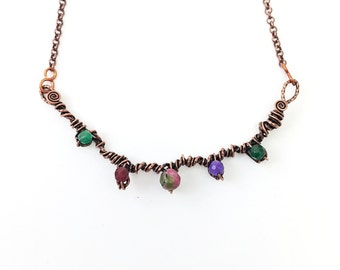 copper wire wrapped necklace with gemstones / code: N1033