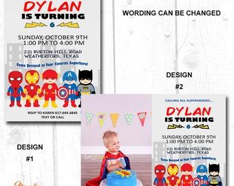 Superhero birthday invitation boy, Superhero Digital Printable, girl Superhero birthday invitation, superhero invitation printable