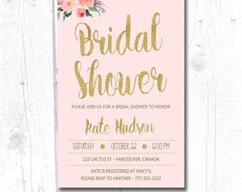 Bridal Shower Invitation Floral, Printable Bridal Shower Invitation, Boho Floral Watercolor Bridal Shower Invitation, Wedding Shower Invite