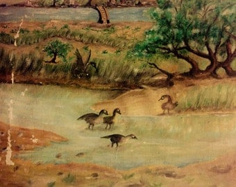 Ducks in a pond (antique oil painting)