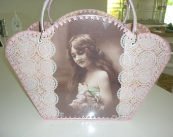 Retro style bag with vintage images of beautiful Edwardian ladies