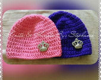 crochet embellished diamond crown beanie