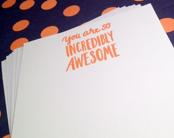 Thank You Notes/You're Awesome Flat Note Cards and Envelopes - Orange and White - Set of 8