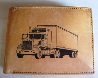 "Mankind Wallets Men's Leather RFID Blocking Billfold w/ ""18 Wheeler Truck Driver"" Image~Makes a Great Gift!"