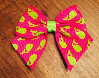Hot Pink and Lime Green Whale Bow