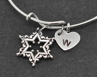Star Bangle, Sterling Silver Bangle, Star Bracelet, Bridesmaid gift, Personalized Bracelet, Charm Bangle, Initial Bracelet,Bridesmaid Gift