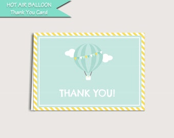 "Hot Air Balloon Thank You Card Printable Digital Download: ""HOT AIR"" thank you card with aqua, blue, yellow digital file to DIY"