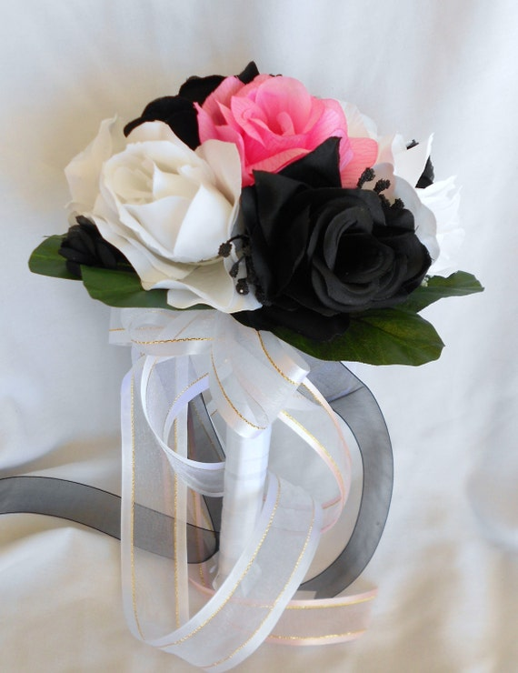 Bride maids bouquet set of 4 with 4grooms boutonniers includes pink white and blacl
