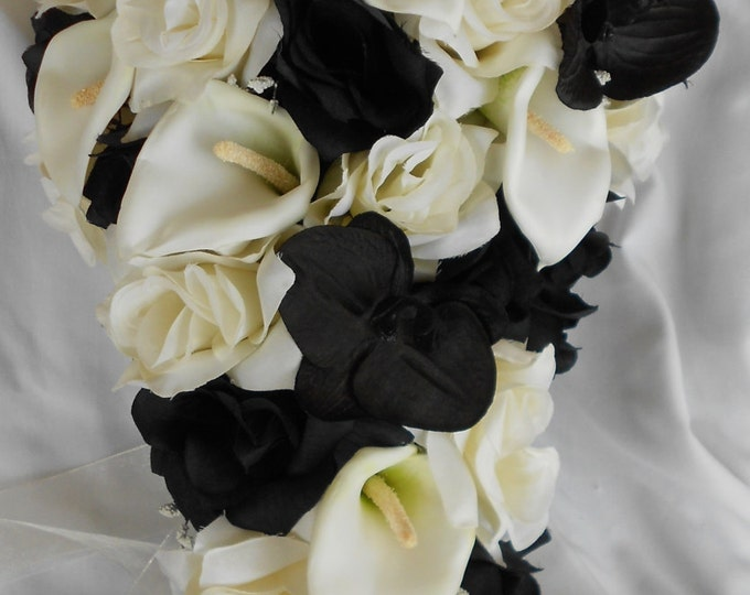 Black orchids , ivory  black roses  and calla lilies cascade bride bouquet 2 pc free toss small bouquet