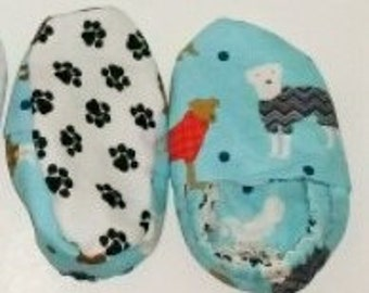 Baby Booties Light Blue with Puppies and Black Paws (Size 6-9M)