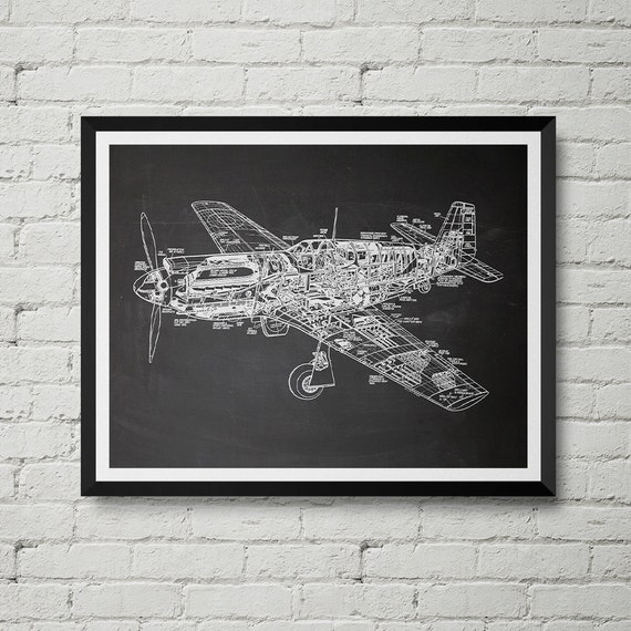 P 51 mustang fighter plane print ww2 aircraft sketch like this item malvernweather Gallery