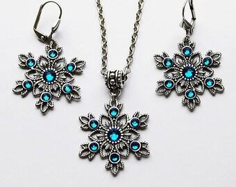 Snowflake necklace, snowflake earrings, swarovski necklace