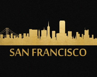 San Francisco Skyline Gold Foil Print 8x11