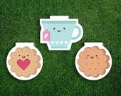 Magnetic Bookmark Set   Tea + Biscuits Magnet Bookmark, Jammie Dodger, Cookies, English, Scones, Cute, Quirky, Kawaii, Food, Sweet Treats