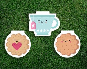 Magnetic Bookmark | Tea + Biscuits Magnet Bookmark, Jammie Dodger, Cookies, English, Scones, Cute, Quirky, Kawaii, Food, Sweet Treats