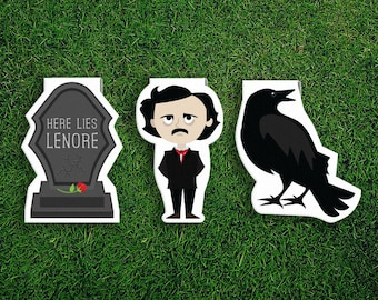 Magnetic Bookmark | Edgar Allan Poe Magnet Cute Book Bookmarks Pack of 3, Magnetic, Cute, Quirky, Kawaii, Raven, Gravestone, Lenore, Goth