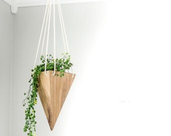Modern Hanging Planter - Walnut Tall - Triangular Planter