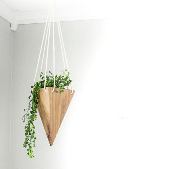 Modern Hanging Planter Walnut Tall Triangular Planter