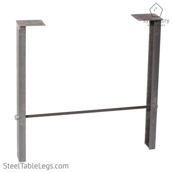 Rustic metal table leg dining height big axle single leg for Single leg dining table