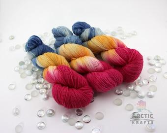 Arctic sunrise,Beautiful hand dyed superwash merino wool & nylon sock weight yarn 410 yards