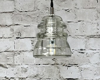 LED Glass Insulator Pendant Light - Glass Insulator Pendant Lights - Glass Insulator Pendant Lighting - Pendant Light Kitchen Lighting