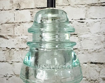 Glass Insulator Light - LED Glass Insulator Pendant Lights - Vintage Hemingray 42 Ice Blue Insulator - Insulator Light - Pendant Light