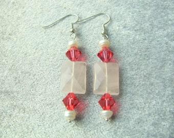 Rose Quartz & Swarovski Earrings