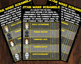 Star Wars Game ~ Scramble and Match ~ INSTANT DOWNLOAD