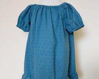 Girls peasant top blue Girls blue blouse Girls short sleeves blue blouse Dotted Swiss short/ long sleeves blouse  Sizes: 2,3,4,5,6,7,8,9, 10