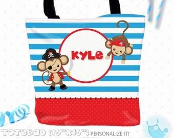 SALE Pirate monkey Personalized Tote Bags, custom Tote bag, kids tote, school tote, kindergarten tote, beach tote bag, Tote Bags TB124