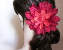 Large Red Hair Flower, Pink Fascinator, Hand Sewn Fabric Flower Hair Clip, Pink Daisy, Orange Pinup Flower, Large Daisy, The Velvet Begonia