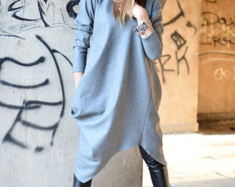 Maxi Dress Grey wool Cashmere Dress / Asymmetrical Kaftan by EUGfashion