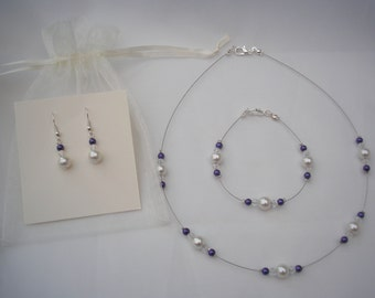 Jane ~ Pearl and Crystal Necklace Bracelet and Earrings Jewellery Set (26e)