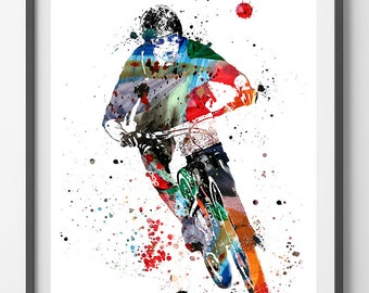 Mountain biking watercolor print mountain biker poster mtb rider print sport art freeride biker mountain bike cycling art [296_2]