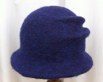 Hand Felted Shetland Wool and Viscose Hat Ink Blue/ Purple