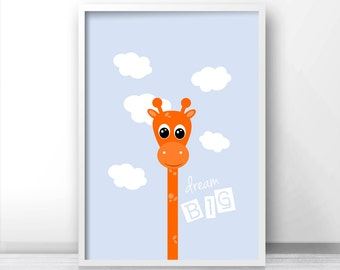 Digital Nursery Art, Giraffe Nursery Art, Dream Big Print, Kids Room Print,  Printable Nursery Wall Art,  Kids Wall Print, Blue Orange Decor