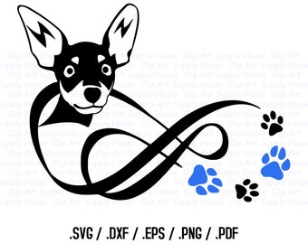Chihuahua SVG Dog, Love Infinity Puppy Clipart, Veterinary Office Art, Dog PNG File, Vinyl Cutter, Screen Printing Die Cut Machine - CA250