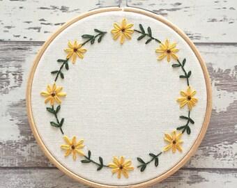 """Custom Embroidery Hoop 5"""" Flowers Personalised Wall Art - Personalised Embroidery Gift - Sunflower Embroidery Hoop - Home Decor Gift"""