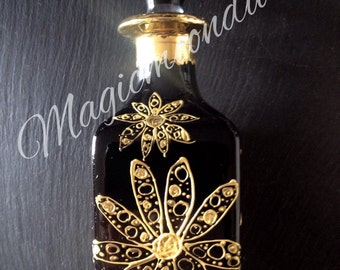 Hand painted glass perfume bottle